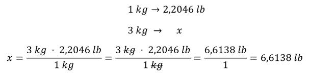 conversión de unidades por regla de tres