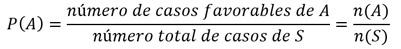 fórmula de probabilidad en el espacio muestral