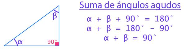 suma de ángulos agudos en un triángulo rectángulo