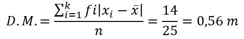 desviación media para datos agrupados de una variabla discreta